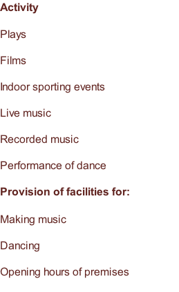 Activity  Plays  Films  Indoor sporting events  Live music  Recorded music  Performance of dance  Provision of facilities for:  Making music  Dancing  Opening hours of premises